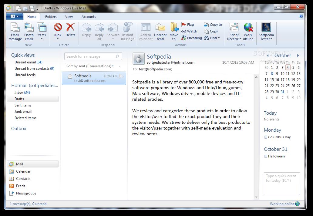 Descargar correos en la computadora en windows live mail con.